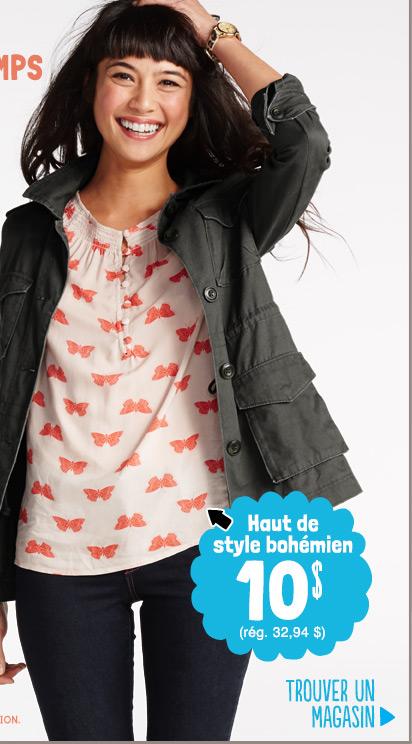 Haut de style Bohémien 10 $ (rég. 32,94 $) | TROUVER UN MAGASIN