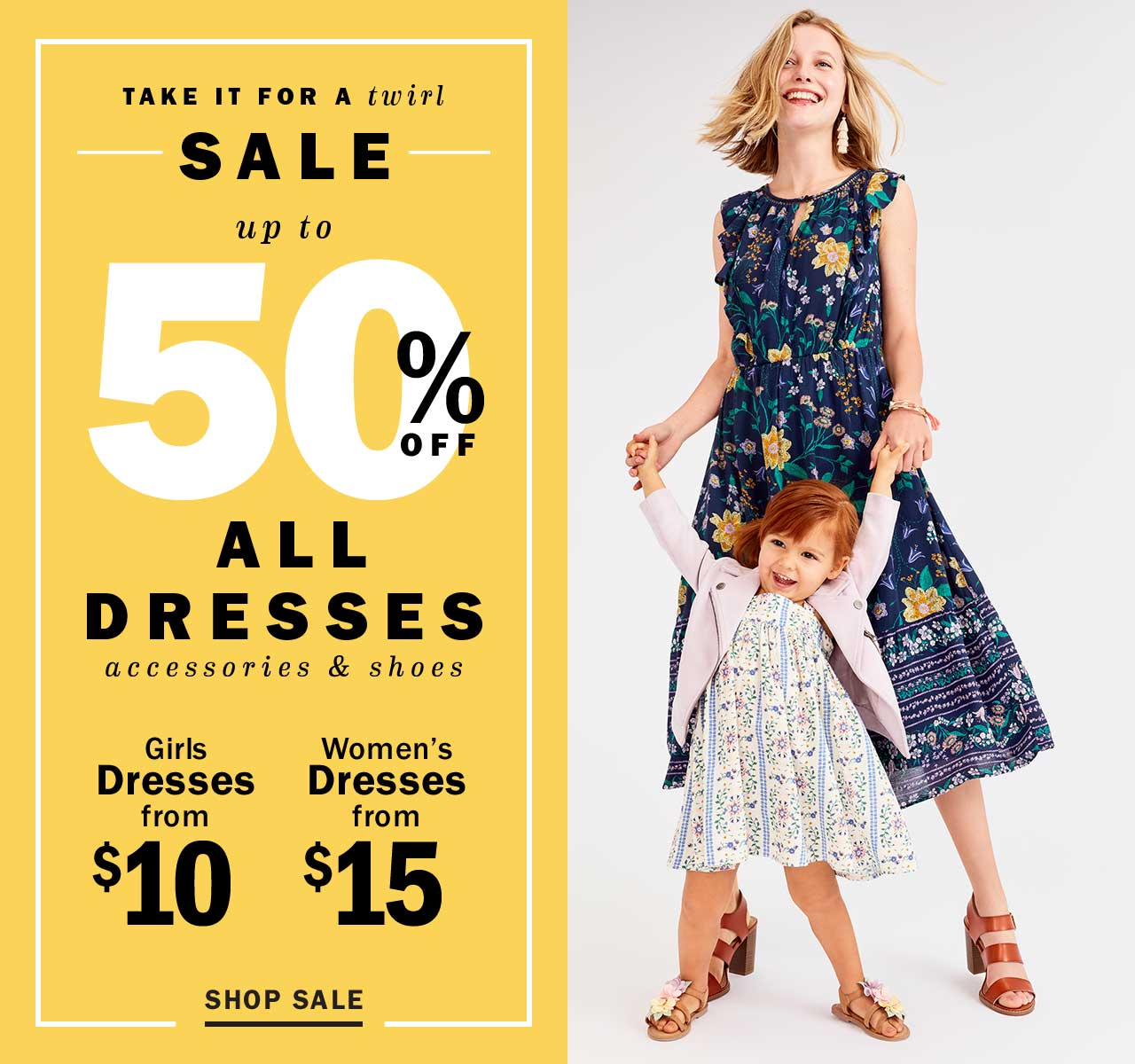 up to 50% OFF ALL DRESSES accessories & shoes