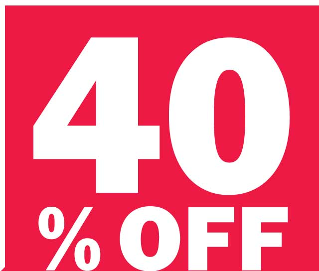 40% OFF YOUR PURCHASE OF $100 OR MORE
