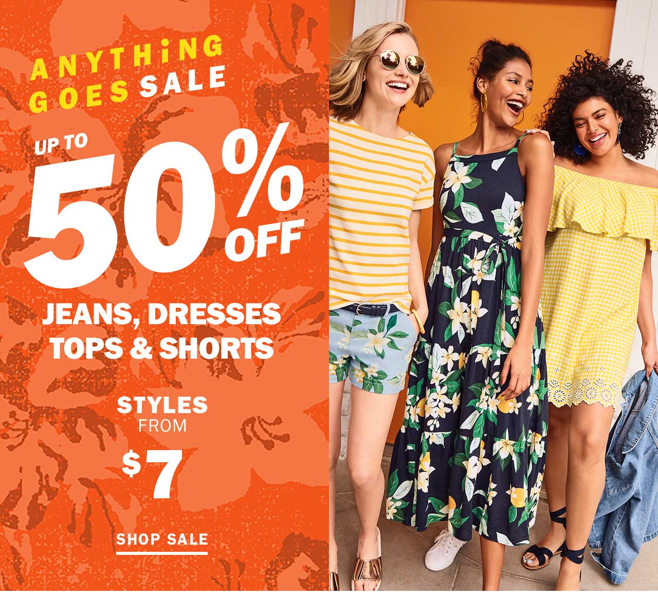 UP TO 50% OFF JEANS, DRESSES TOPS & SHORTS | SHOP SALE
