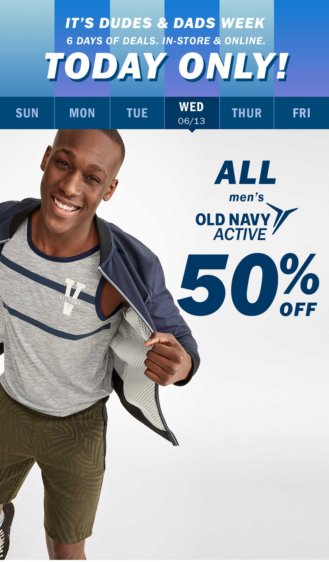 TODAY ONLY! | ALL men's OLD NAVY ACTIVE 50% OFF
