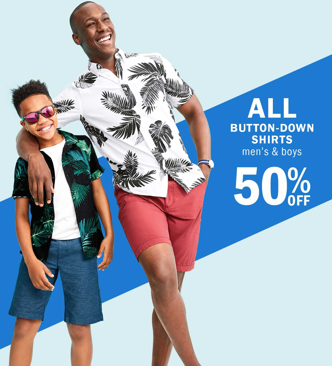 ALL BUTTON-DOWN SHIRTS men's & boys 50% OFF