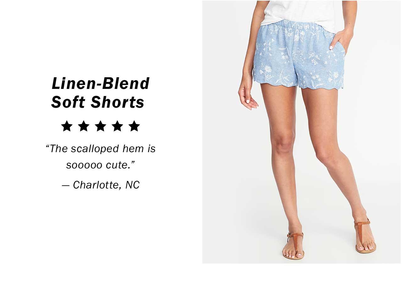 Linen-Blend Soft Shorts