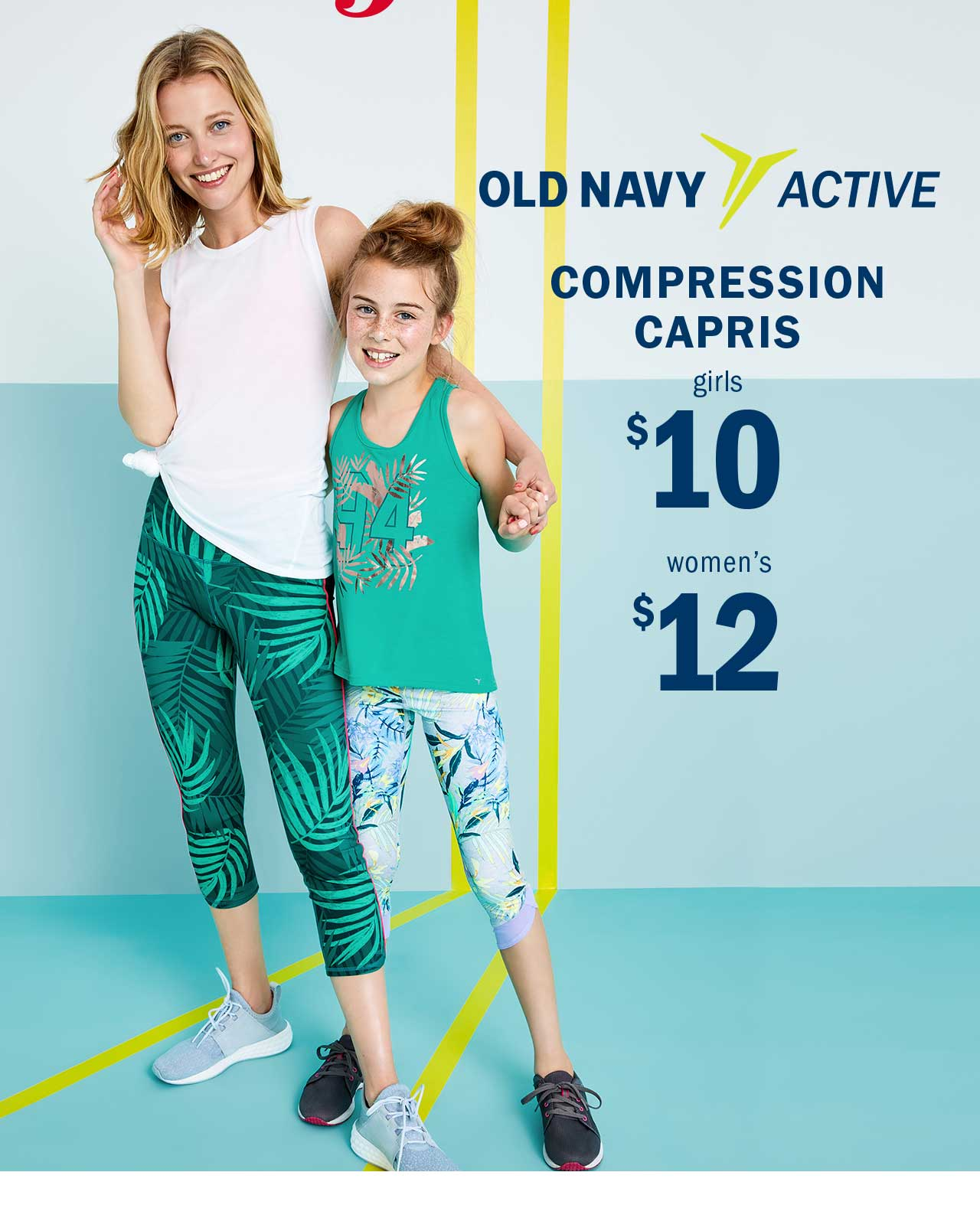 OLD NAVY ACTIVE | COMPRESSION CAPRIS girls $10 | women's $12